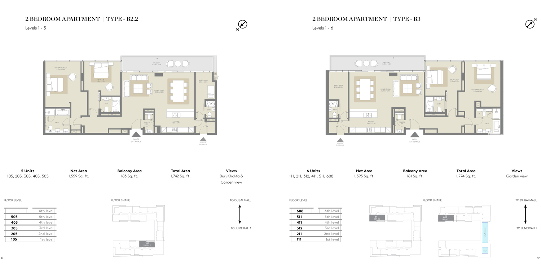2 Bedroom Type B2.2, Type B3,Size 1742    sq. ft.