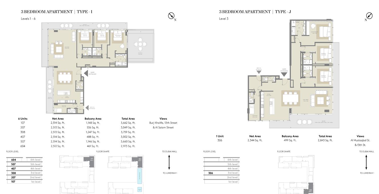 3 Bedroom Type I, Type J,Size 2973    sq. ft.
