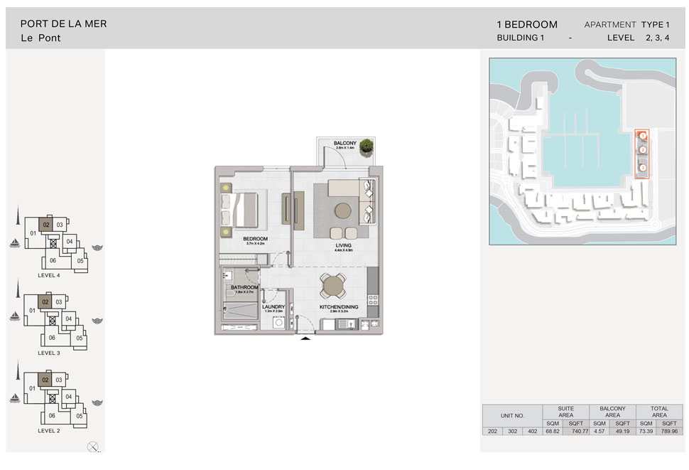 1-Bedroom,Type-1, Level 2-to-4, Size-789.96    sq. ft.