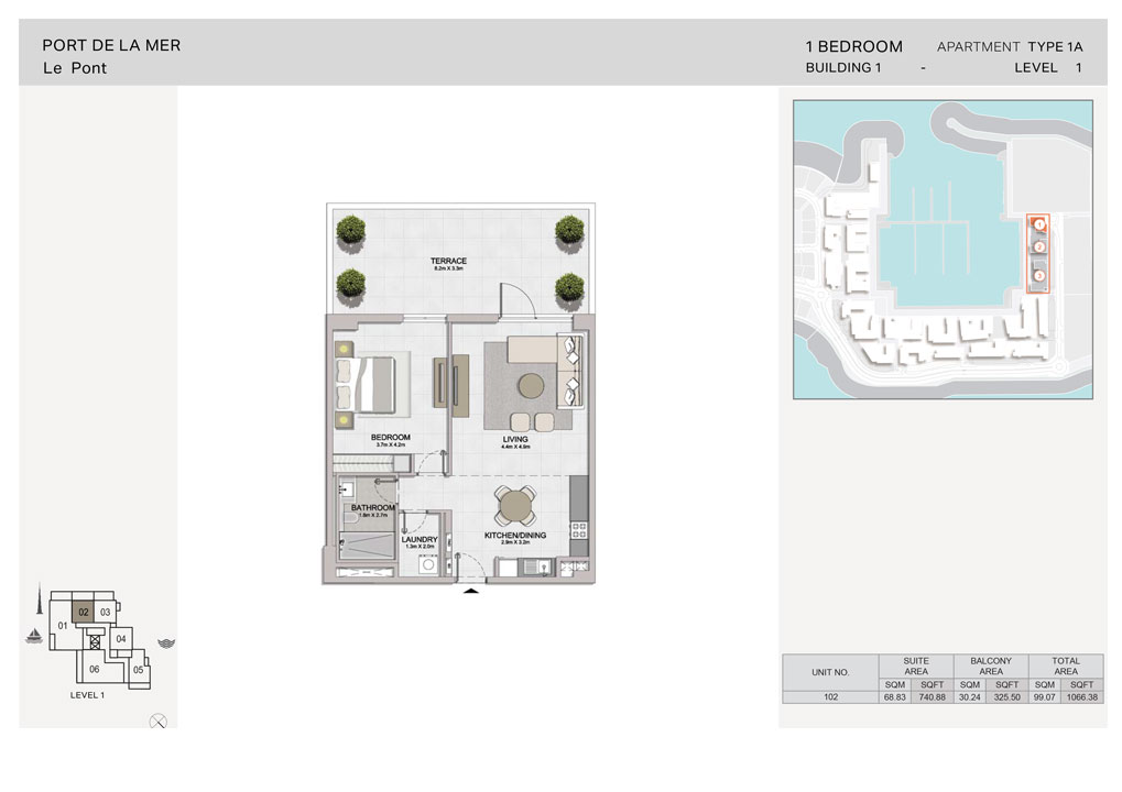 1-Bedroom, Type-1A, Level 1, Size-1066.38  sq. ft.