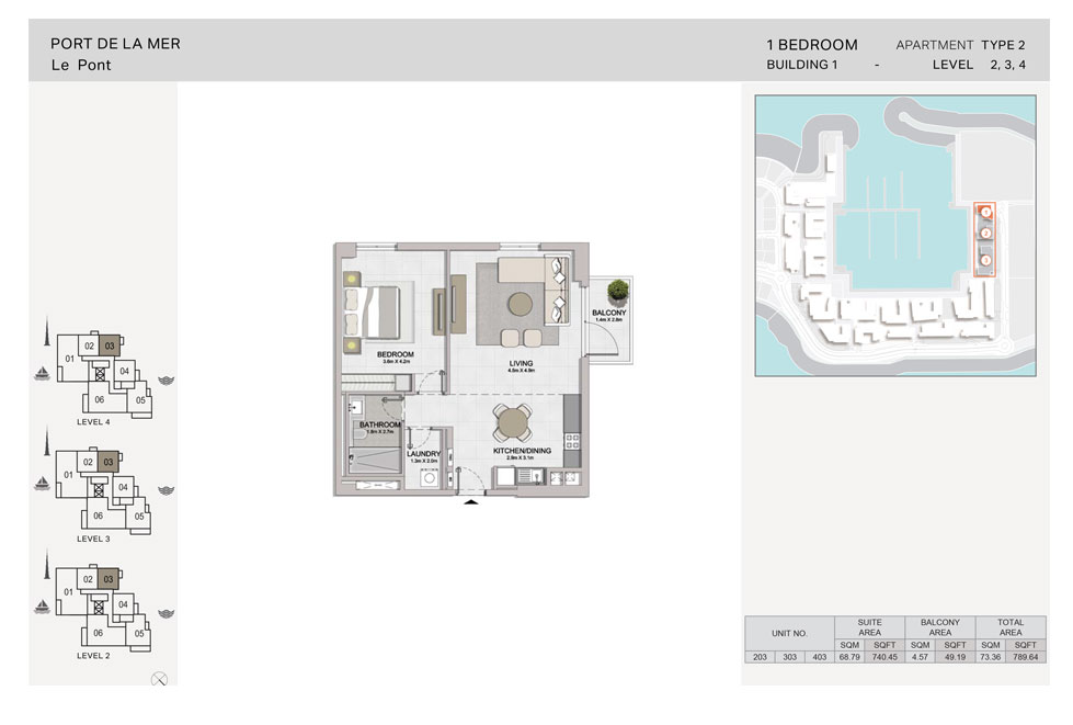 1-Bedroom,Type-2, Level 2to4, Size-789.64  sq. ft.