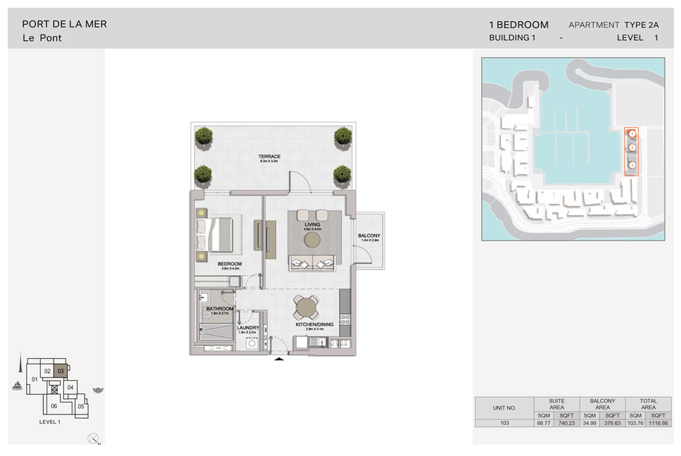 1-Bedroom,Type 2A,Level-1, Size-1116.86  sq. ft.
