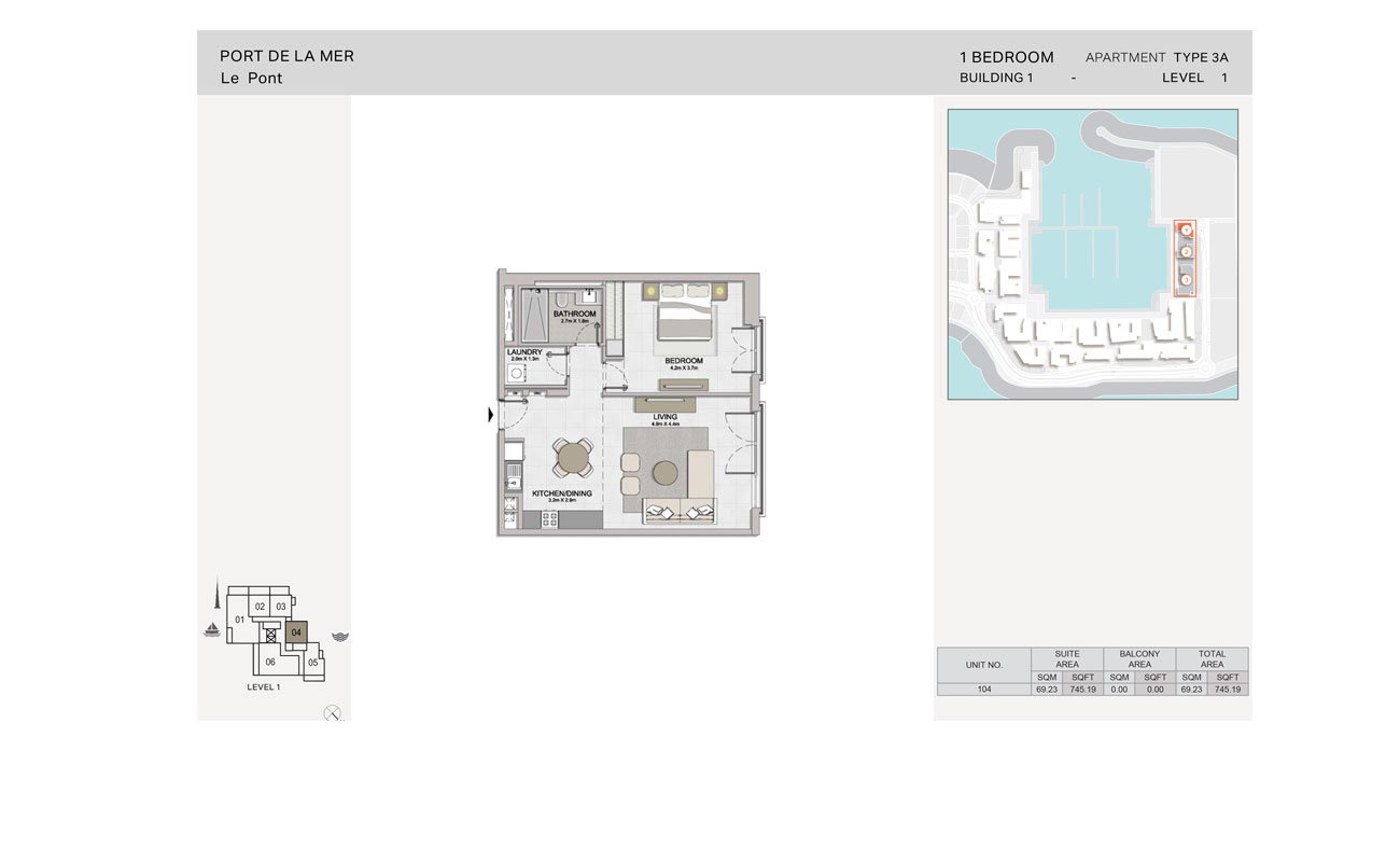 1 Bedroom, Type-3A, Level-1, Size-745.19  sq. ft.