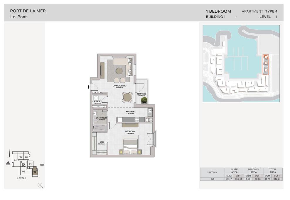 1 Bedroom, Type-4, Level-1, Size-912.24  sq. ft.