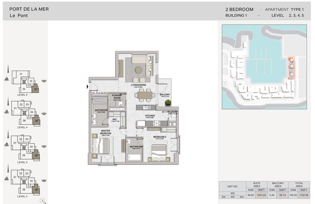 2 Bedroom, Type-1, Level 2 to 5, Size 1132.36  sq. ft.