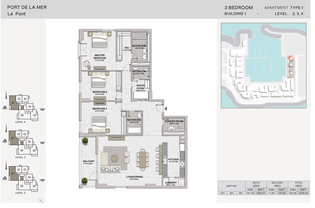 3 Bedroom, Type-1, Level 2 to 4, Size-2078.30  sq. ft.