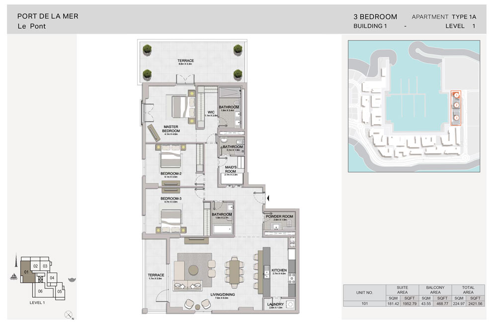 3 Bedroom, Type-1A, Level-1, Size 2421.56  sq. ft.
