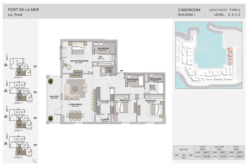 3 Bedroom, Type-2, Level-2-to-5, Size 1886.91  sq. ft.