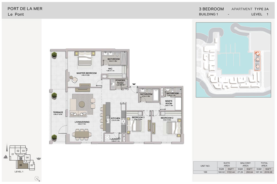 3-Bedroom, Type-2A, Level-1, Size-2016.08  sq. ft.