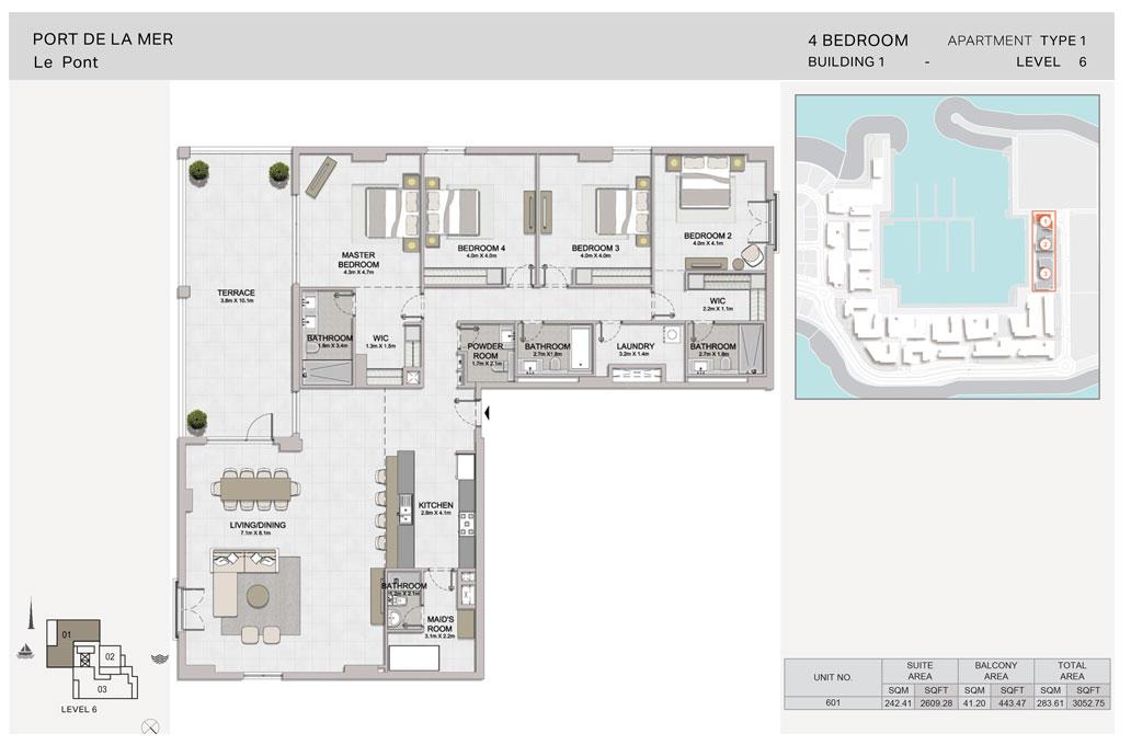 4-Bedroom, Type-1, Level-6, Size-3052.75  sq. ft.