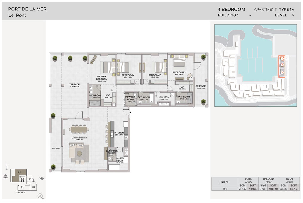 4-Bedroom, Type-1A, Level-5, Size-3657.58  sq. ft.