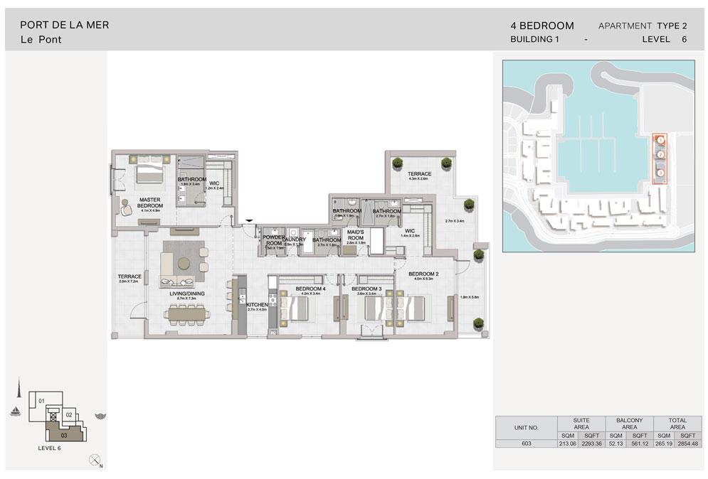 4-Bedroom, Type-2, Level-6, Size 2854.48  sq. ft.