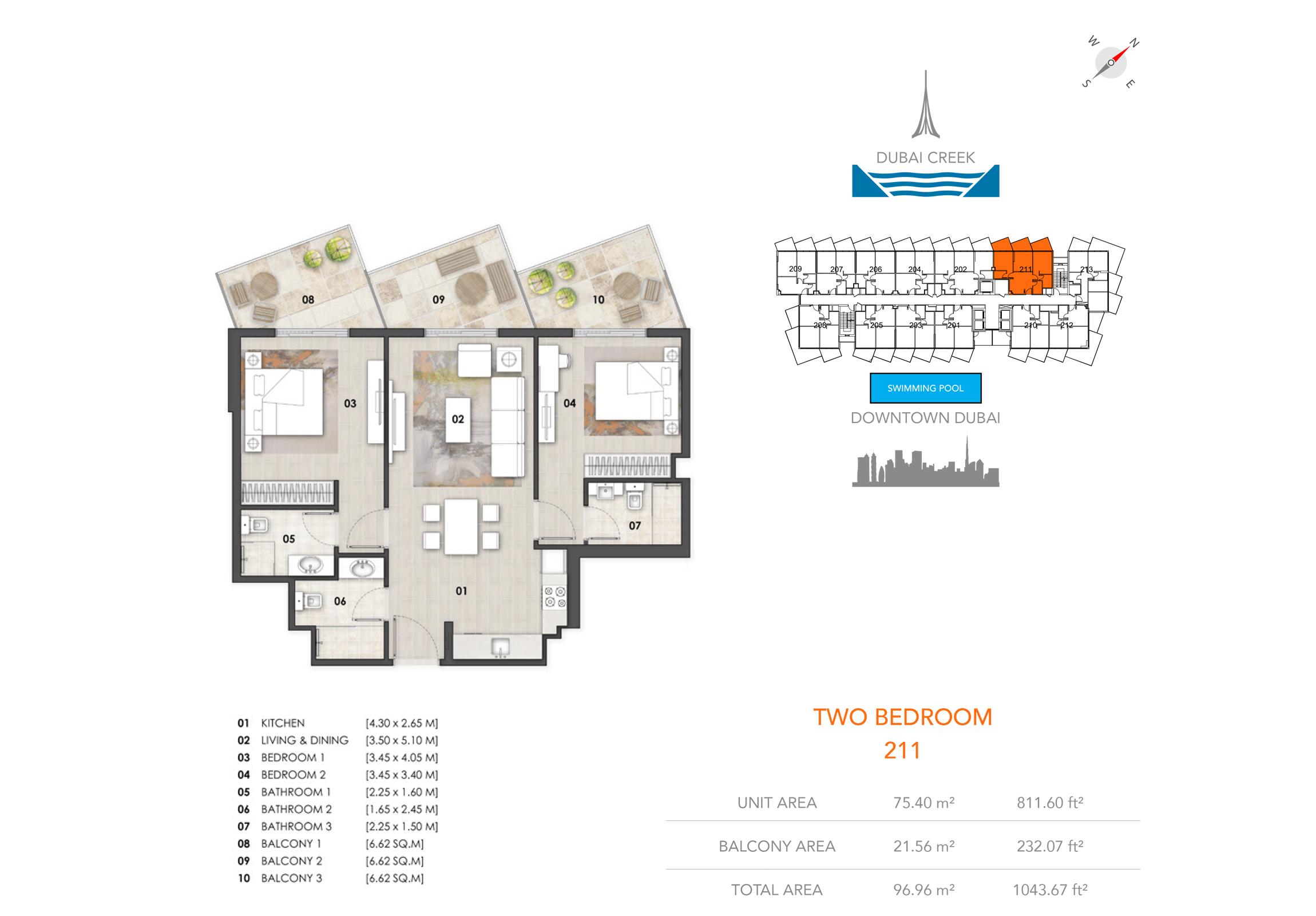 2 Bedroom 211, Size 1043.67  sq. ft.