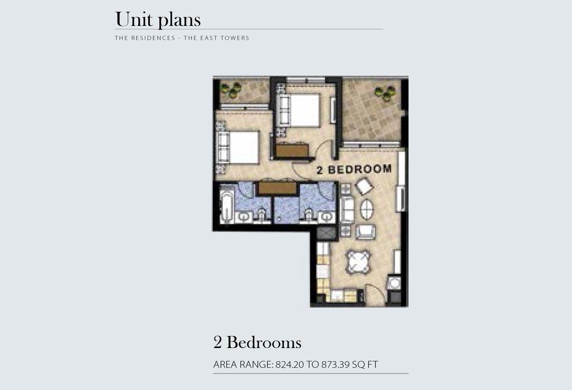 2 Bedroom Area Range 824.20 to 873.39    sq. ft.