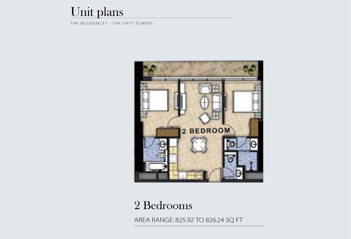 2 Bedroom Area Range 825.92 to 826.24    sq. ft.