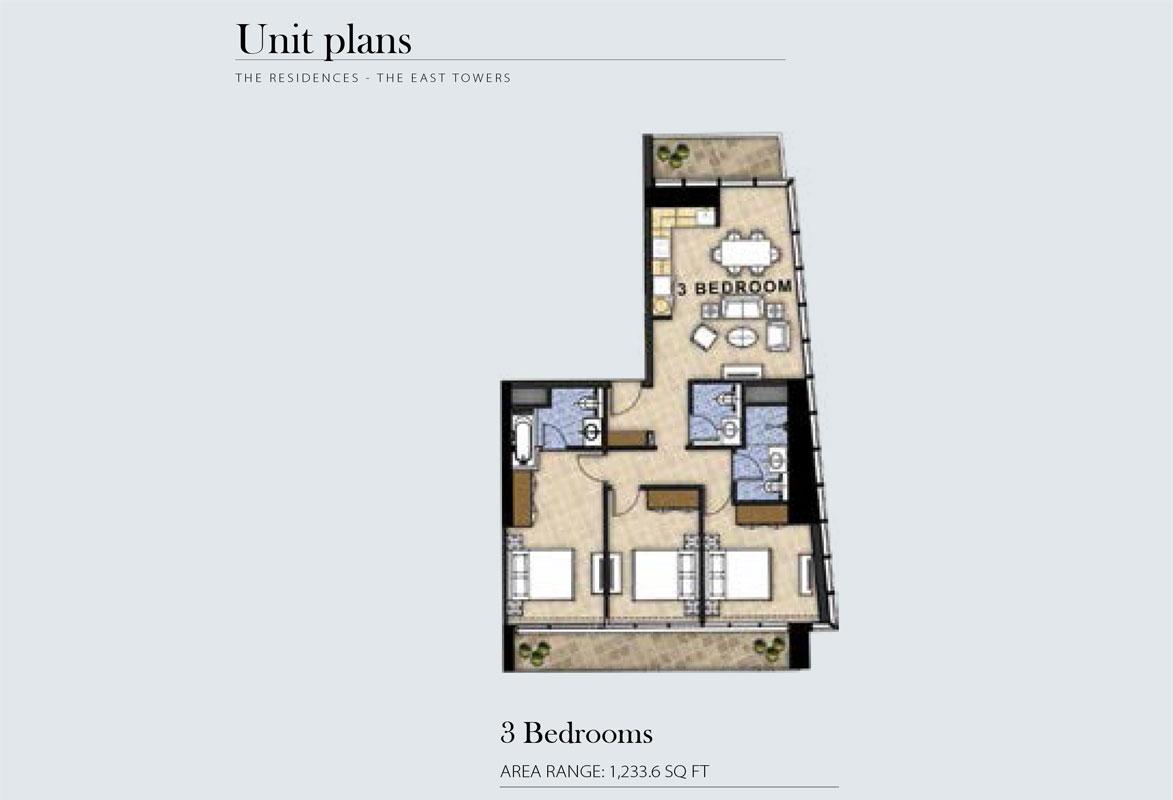 3 Bedroom Area Range 1,233.6    sq. ft.