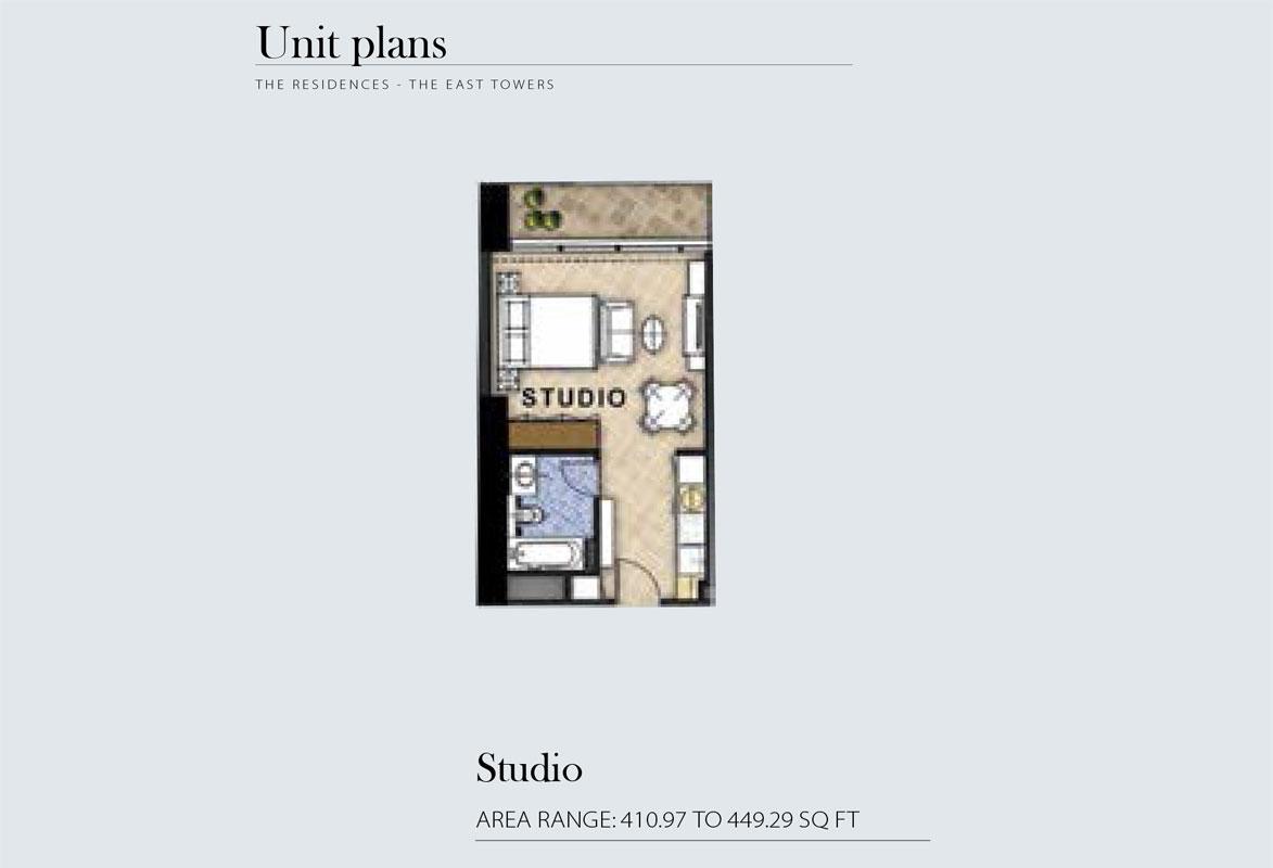 Studio Area Range 410.97 to 449.29    sq. ft.