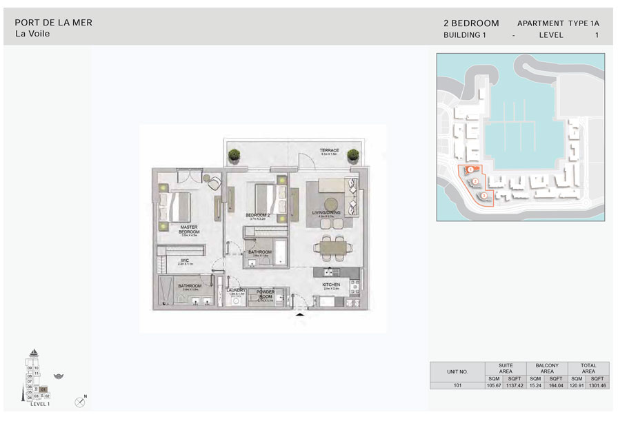2-Bedroom,-Type-1A,-Level--1,-Size-1301.46  sq. ft.