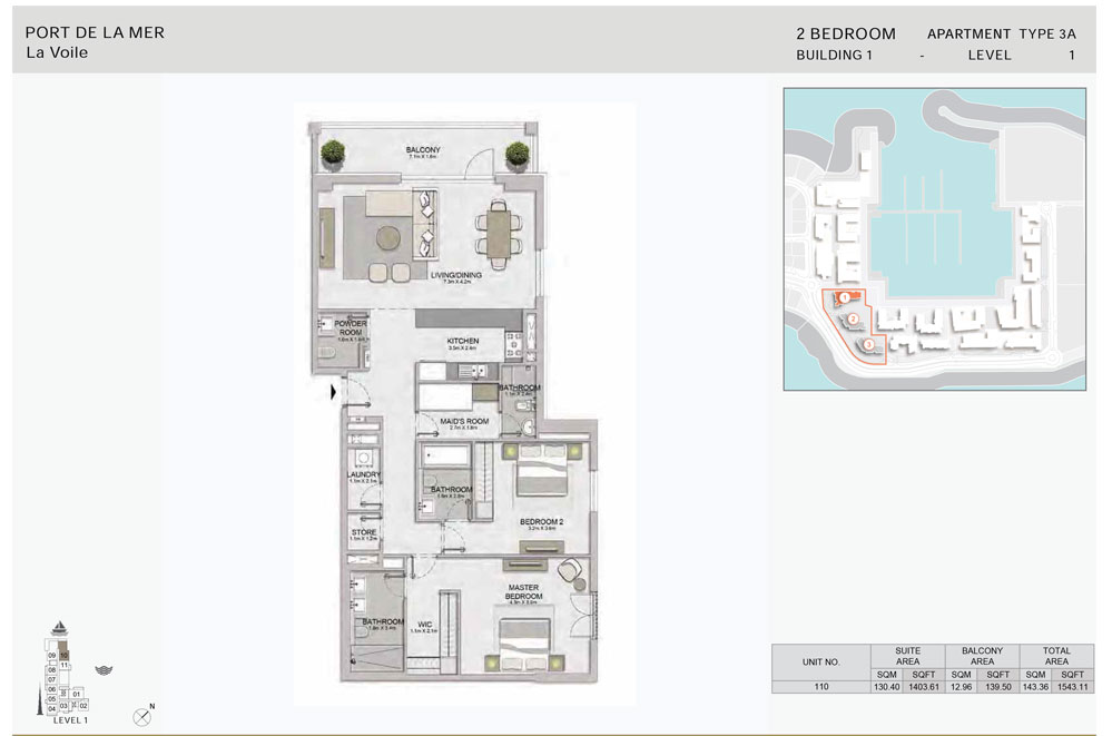 2-Bedroom,-Type-3A,-Level--1,-Size-1543.11  sq. ft.