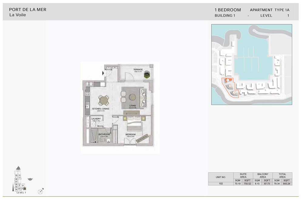 1-Bedroom, Type-1A,-Level-1,-Size-843.24    sq. ft.