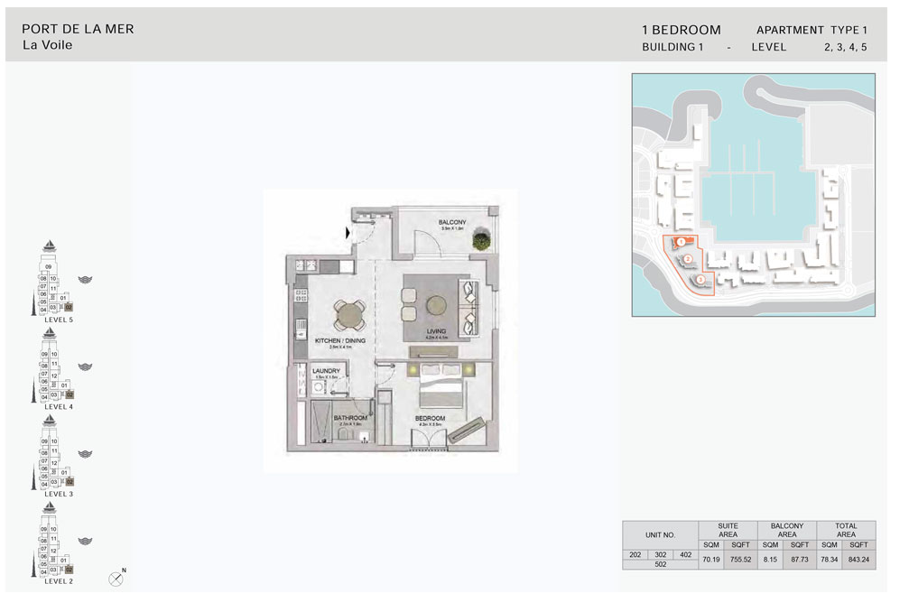 1-Bedroom,Type-1A,-Level-2,3,4,5,-Size-843.24    sq. ft.