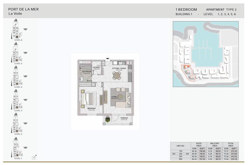 1-Bedroom,Type-2,- Level-1,2,3,4,5,6,-Size-814.18    sq. ft.