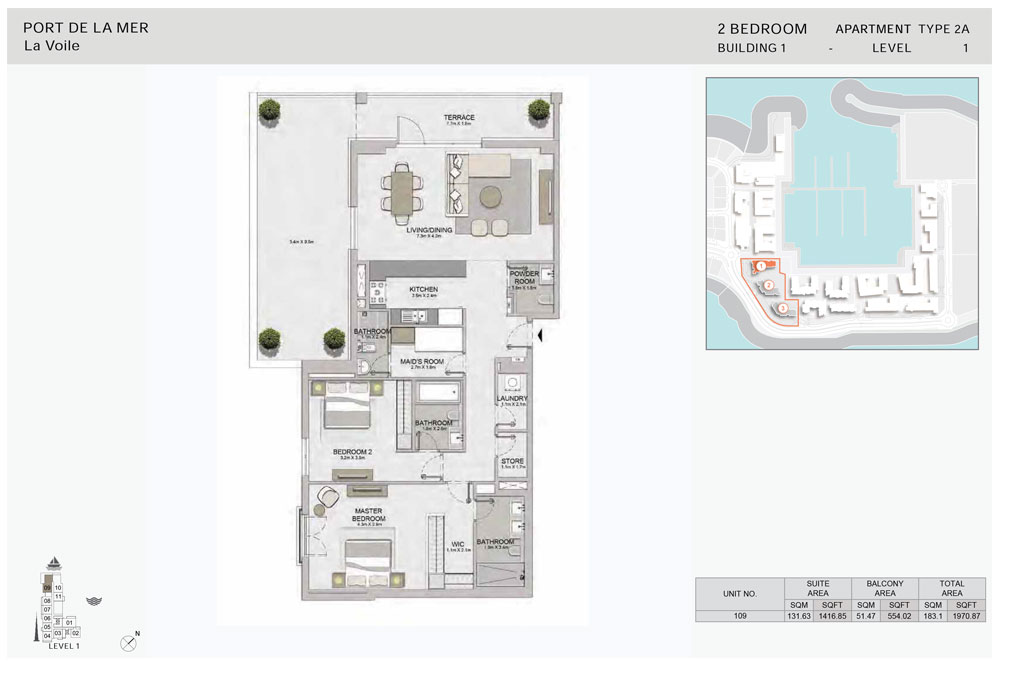 2-Bedroom,Type-2A, -Level-1-Size-1970.87    sq. ft.