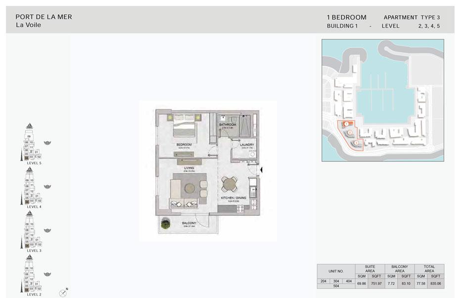 1-Bedroom,Type-3, -Level-2,3,4,5,-Size-835.06    sq. ft.