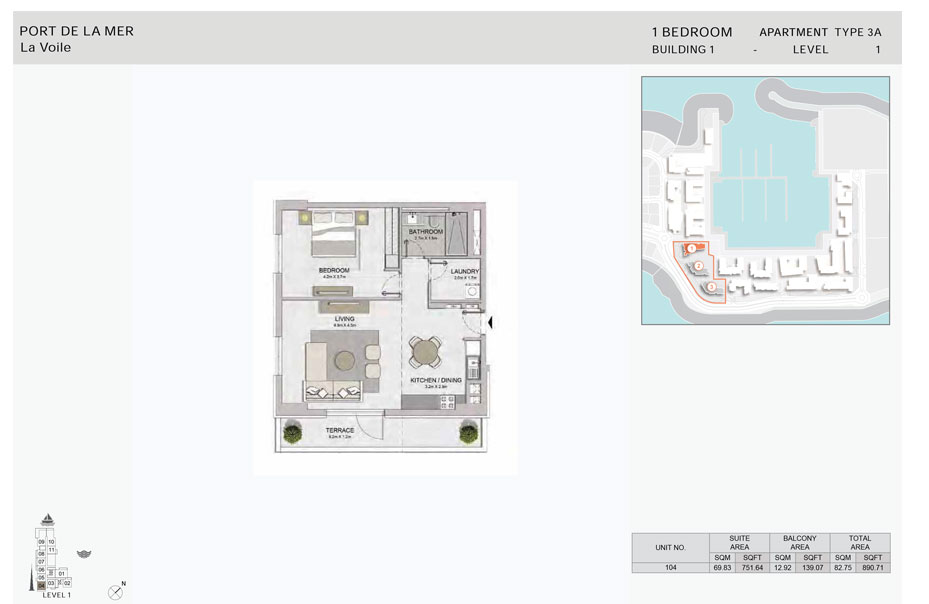 1-Bedroom, Type-3A,- -Level-1,-Size-890.71    sq. ft.