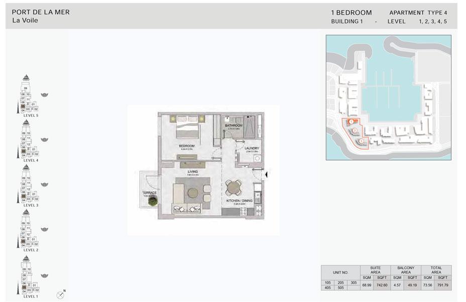 1-Bedroom,Type-4,- -Level-1,2,3,4,5,-Size-791.79    sq. ft.