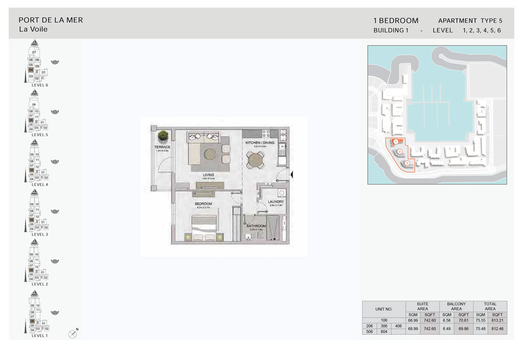 1-Bedroom,Type-5,- -Level-1,2,3,4,5,6-Size-813.21    sq. ft.