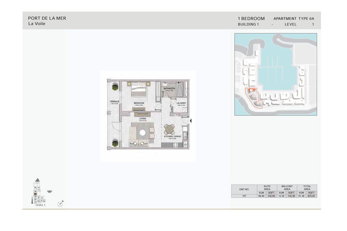 1-Bedroom,Type-6A, -Level-1,-Size-875.97    sq. ft.