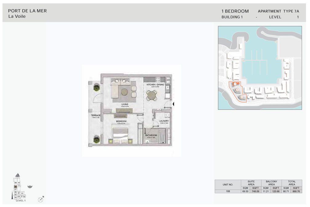 1-Bedroom, Type-7A,-Level-1,-Size-868.76    sq. ft.