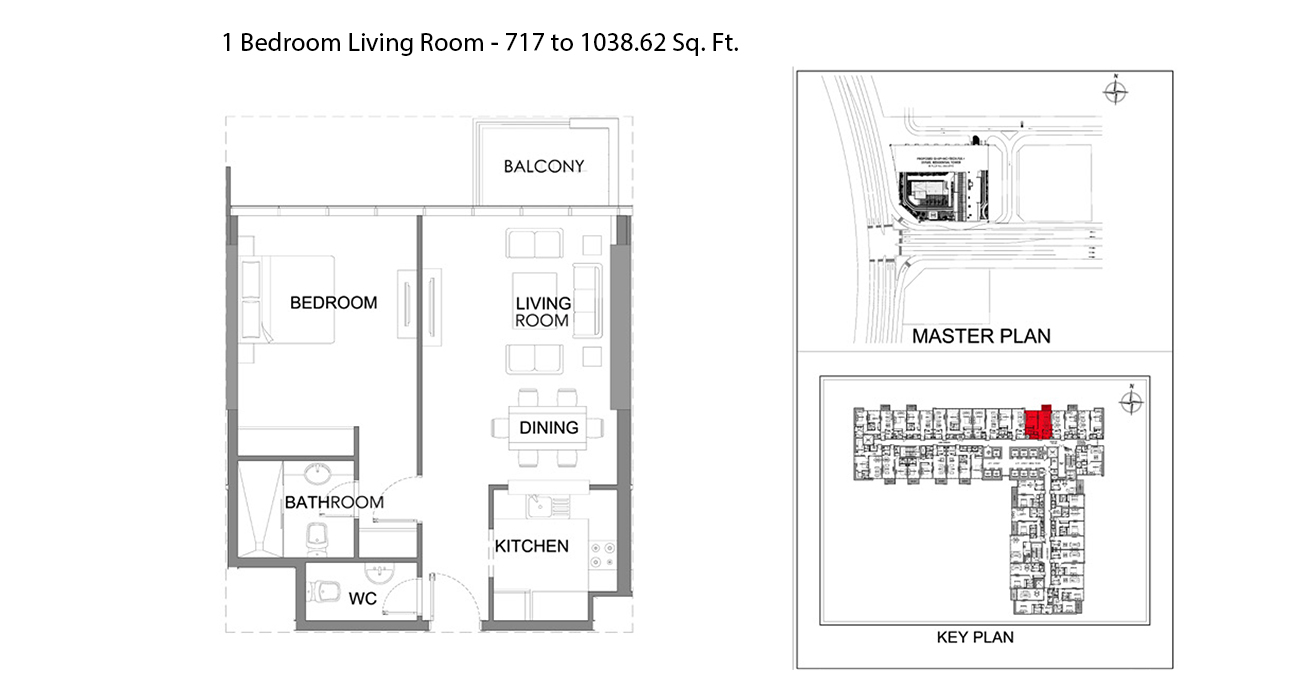 1 Bedroom Living Room - 717.09 to 1038.62 Sq. Ft.