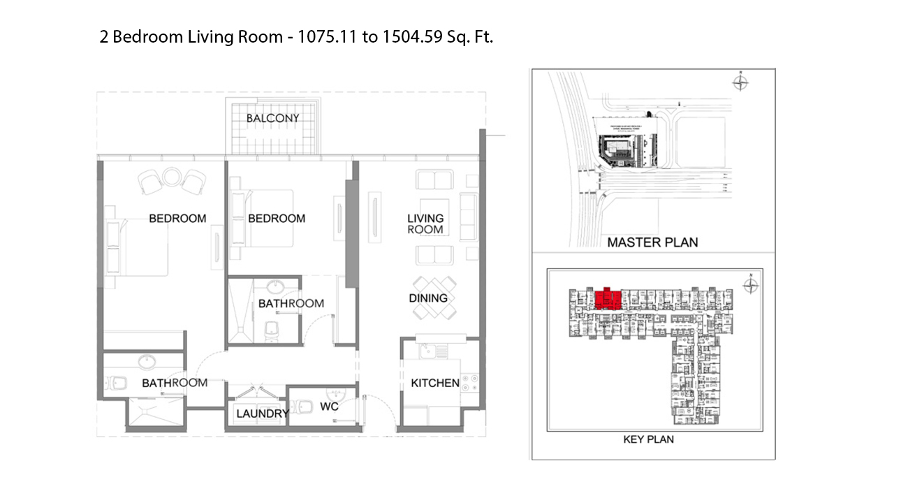 2 Bedroom Living Room - 1075.11 to 1504.59 Sq. Ft.