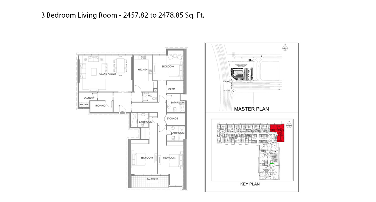 3 Bedroom Living Room - 2457.82 to 2478.85 Sq. Ft.