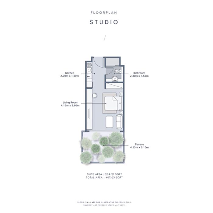 Studio Apartments, Size 407    sq. ft.