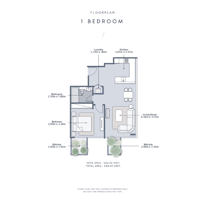 1 Bedroom Apartment, Size 609    sq. ft.