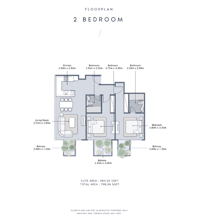 2 Bedroom Apartment, Size 798    sq. ft.