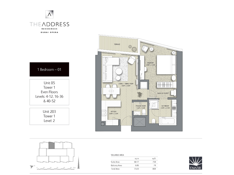 Tower 1, 1 Bedroom Unit 05, 203, Size 808    sq. ft.