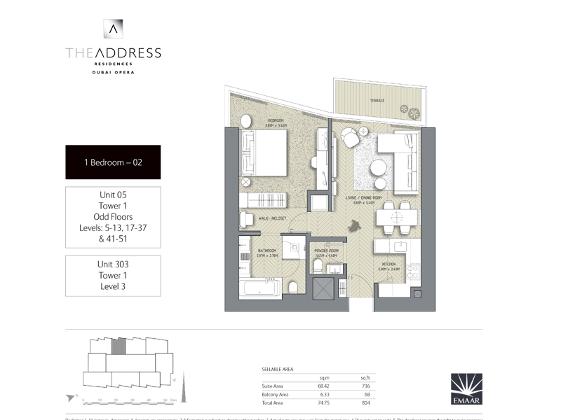 Tower 1, 1 Bedroom Unit 05, 303, Size 804    sq. ft.