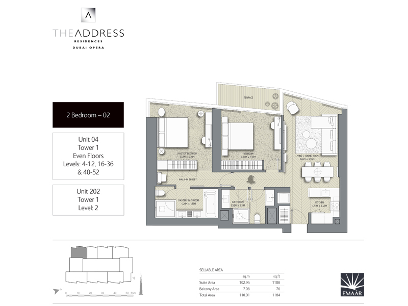 Tower 1, 2 Bedroom, Unit 04,202, Size 1184    sq. ft.