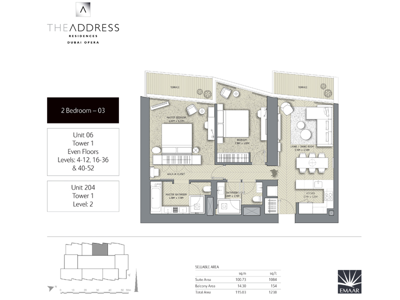 Tower 1, 2 Bedroom, Unit 06,204, Size 1238    sq. ft.