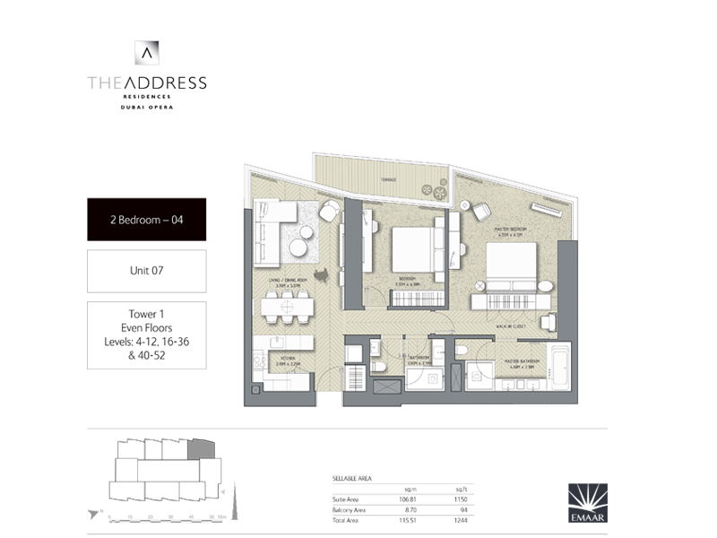 Tower 1, 2 Bedroom, Unit 07, Size 1264    sq. ft.