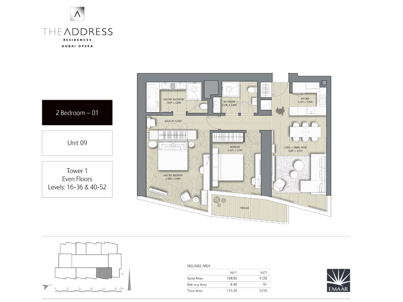 Tower 1, 2 Bedroom, Unit 09, Size 1219    sq. ft.