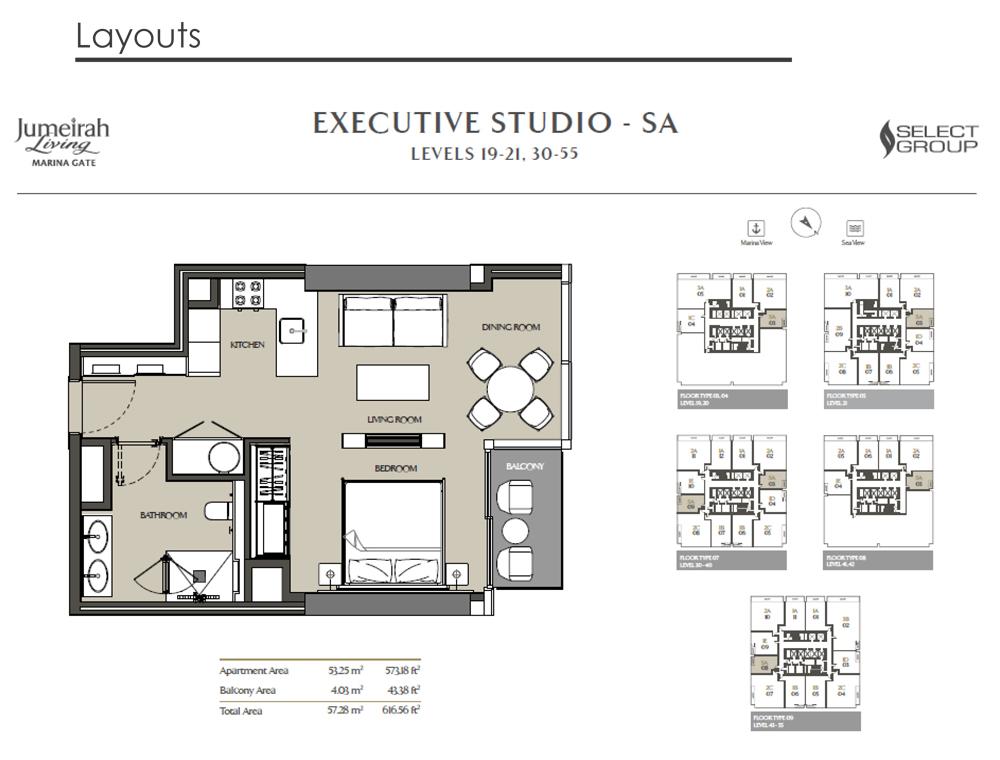 Exexutive Studio, Size 616    sq. ft.
