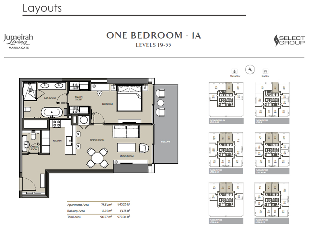 1 Bedroom Apartment Type 1A, Size 977    sq. ft.