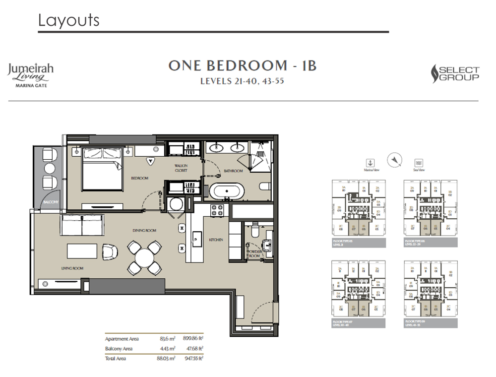 1 Bedroom Apartment Type 1B, Size 947    sq. ft.