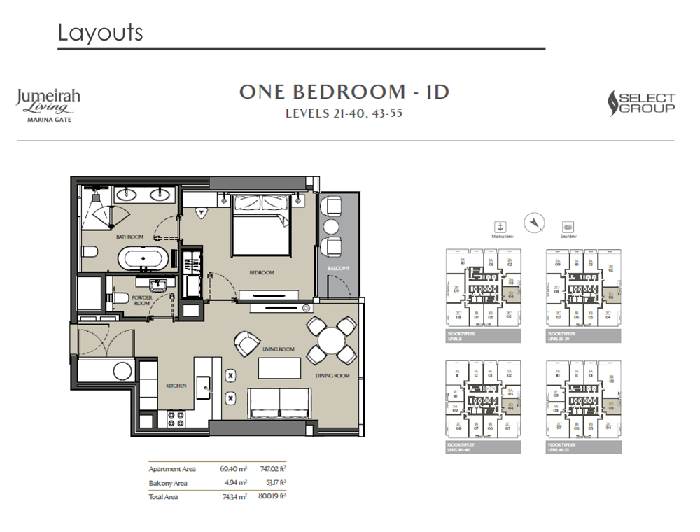 1 Bedroom Apartment Type 1D, Size 800    sq. ft.