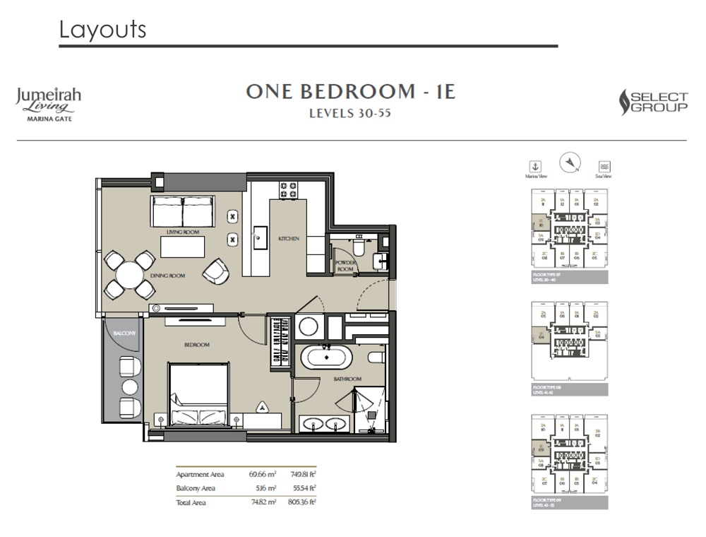 1 Bedroom Apartment Type 1E, Size 805    sq. ft.